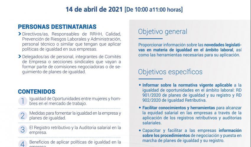 Jornada virtual: Igualdad en la Gestión Empresarial. Registro Retributivo y Plan de Igualdad.