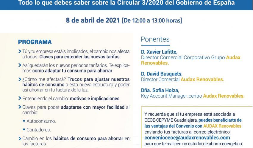Jornada Virtual - BYE BYE TARIFAS. ¡Despídete de las tarifas actuales, descubre las novedades! con AUDAX Renovables