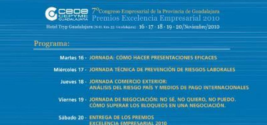 El martes 16 de noviembre comienza el 7º Congreso Empresarial de CEOE-CEPYME Guadalajara