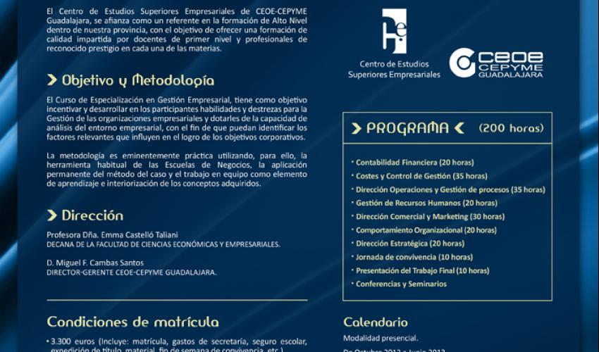 Abierto el plazo de inscripción para la V edición del curso de especialización en gestión empresarial