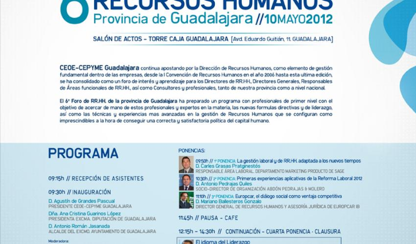 CEOE-CEPYME Guadalajara celebra el próximo 10 de mayo el 6º Foro de Recursos Humanos de la provincia de Guadalajara