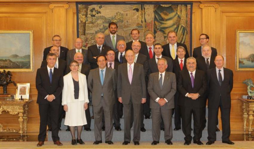 Pedro Hernández Berbería, presidente de los autónomos de Guadalajara, asiste a la recepción de CEAT nacional por parte del rey