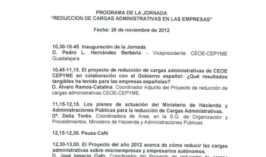 CEOE-CEPYME Guadalajara celebrará el 26 de noviembre una jornada sobre la reducción de cargas administrativas en la empresa