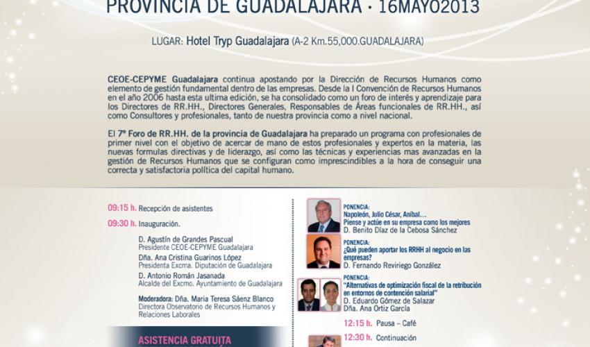 CEOE-CEPYME Guadalajara celebra el próximo 16 de mayo el 7º foro de recursos humanos de la provincia de Guadalajara