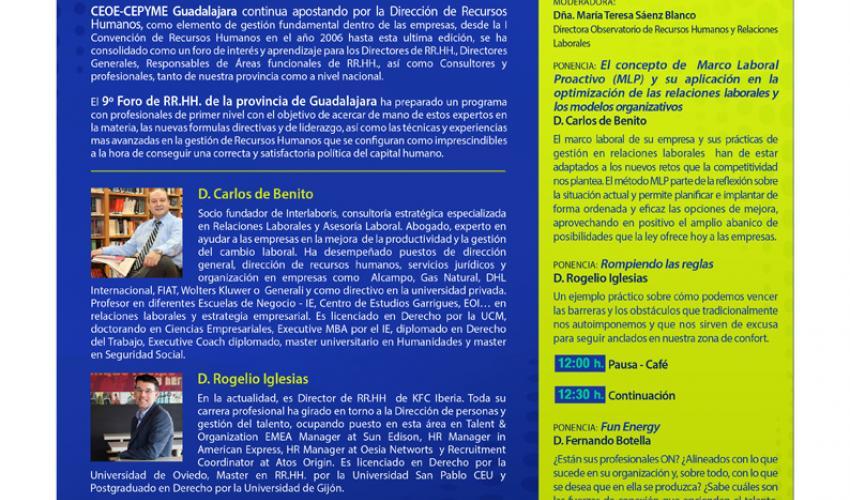 CEOE-CEPYME Guadalajara celebrará el jueves 16 de abril su 9º Foro de Recursos Humanos de la provincia de Guadalajara