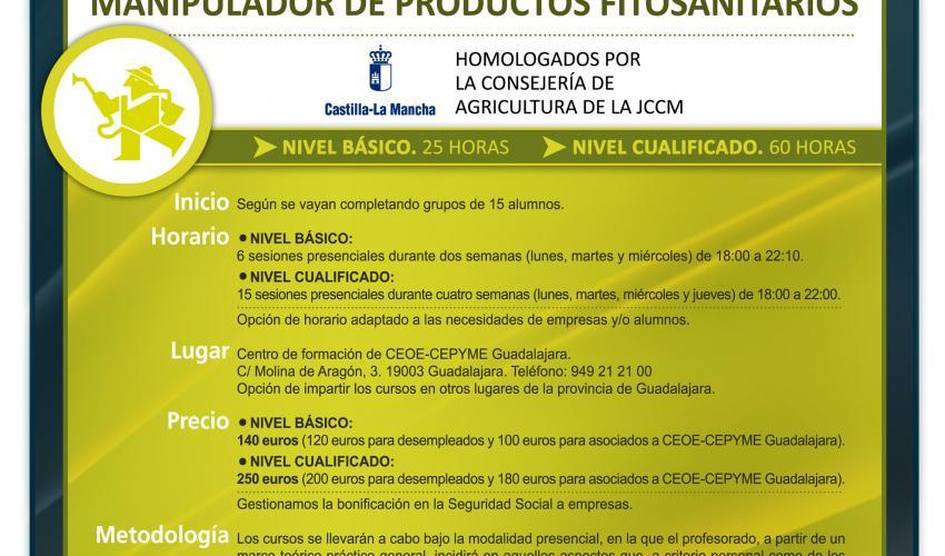 El departamento de Formación de CEOE-CEPYME Guadalajara amplía su oferta formativa con cursos de manipulador de productos fitosanitarios