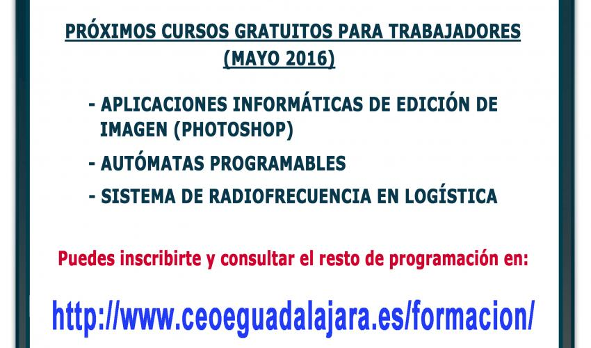 El departamento de Formación de CEOE-CEPYME Guadalajara informa de la apertura de la inscripción de los cursos de autómatas programables, edición de imágenes y radiofrecuencia