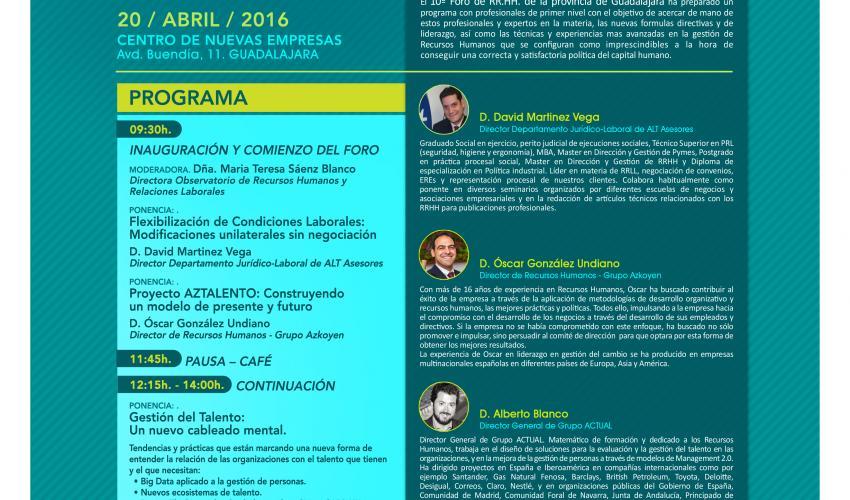 CEOE-CEPYME Guadalajara celebrará el miércoles 20 de abril su 10º Foro de Recursos Humanos de la provincia de Guadalajara