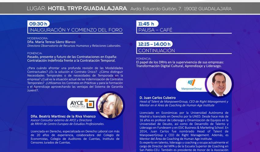 El 25 de abril tendrá lugar el 11º foro de Recursos Humanos de la provincia de Guadalajara