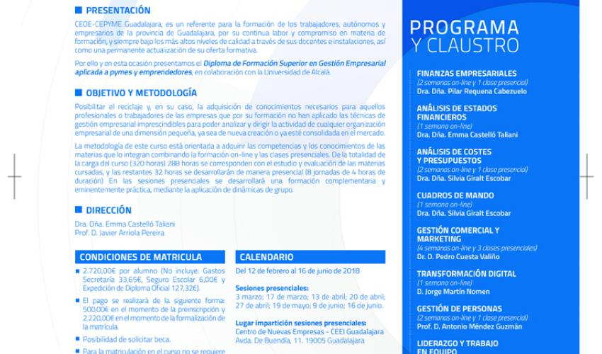 CEOE-CEPYME Guadalajara presenta el curso de gestión empresarial aplicada a pymes y emprendedores