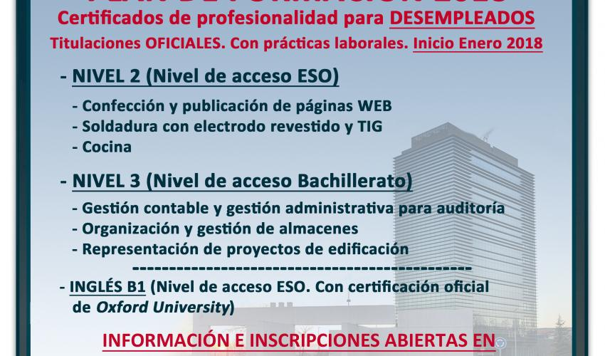Abierto el plazo de inscripción para los cursos gratuitos con certificado de profesionalidad que comenzarán en enero