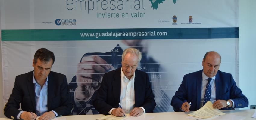 Diputación provincial, Ayuntamiento y CEOE-CEPYME Guadalajara, firman el Convenio del proyecto &#x201CGuadalajara Empresarial&#x201D