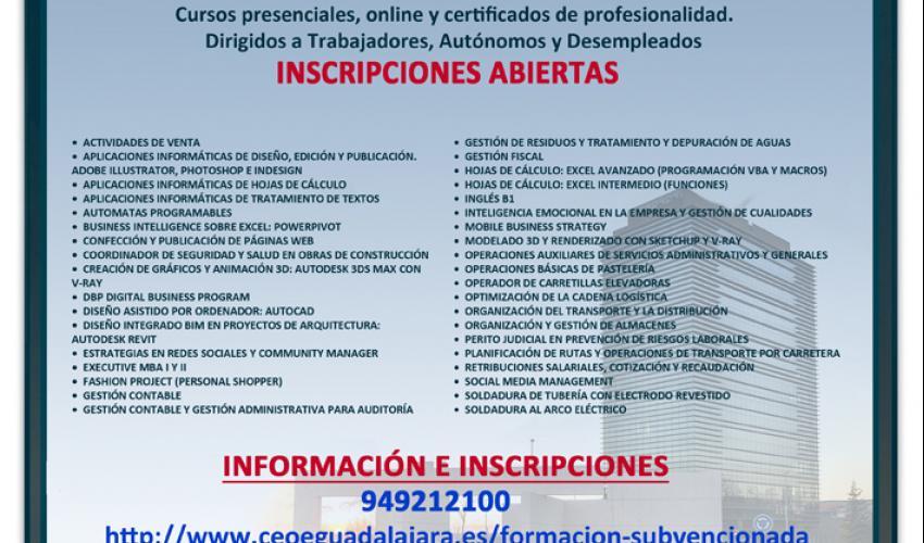 41 nuevos cursos conforman la programación gratuita de CEOE-CEPYME Guadalajara para 2019