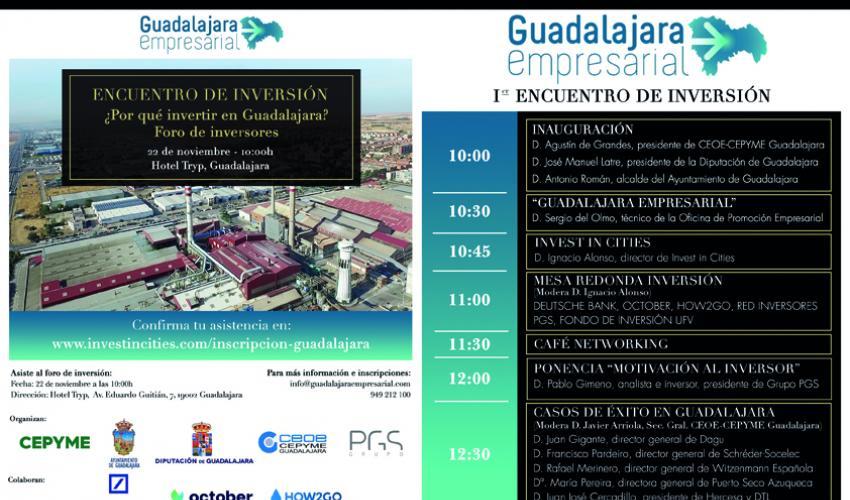 El I encuentro de inversión de Guadalajara se celebrará el próximo 22 de noviembre