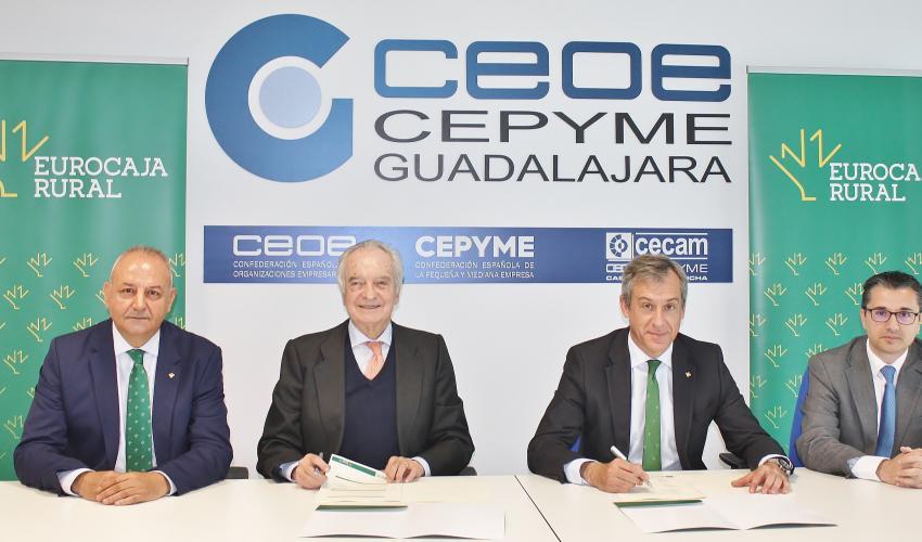 Eurocaja Rural reafirma su apoyo a CEOE-CEPYME Guadalajara renovando su histórico convenio financiero