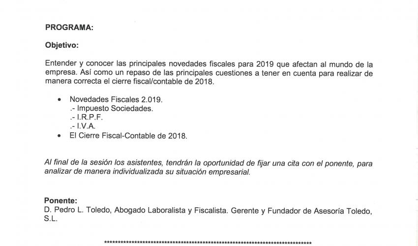 CEOE-CEPYME Guadalajara desarrollará una jornada sobre las novedades fiscales para 2019 y el cierre fiscal/contable 2018